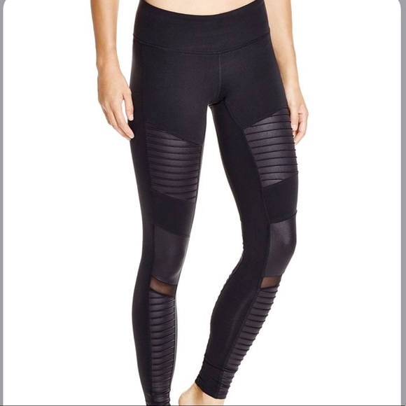 ALO Yoga Pants - Alo Yoga Moto Leggings Black/Glossy